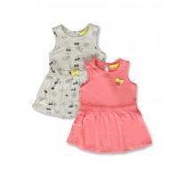 142174 Creative manifesto baby girls dress twopack light grey+pink (8 pcs)