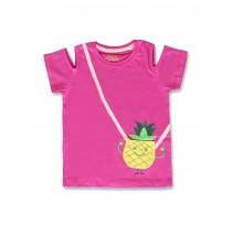 142546 Creative manifesto small girls shirt super pink+medieval blue (12 pcs)