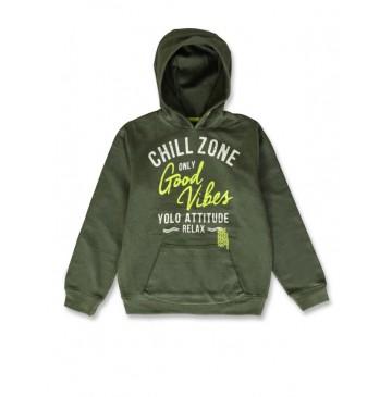 142706 Common ground teen boys sweatshirt kaki+surf the web (12 pcs)