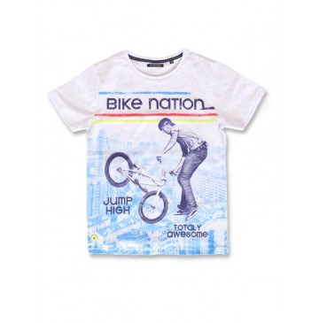 142816 Creative manifesto teen boys shirt light grey melange+marshmallow (12 pcs)