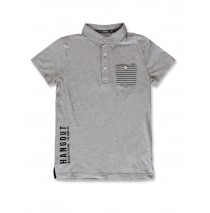 142881 In touch teen boys poloshirt grey melange+black (12 pcs)