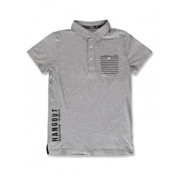 142881 In touch teen boys poloshirt grey melange+black (12 pcs)