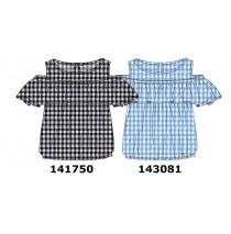 143081 In touch teen girls blouse light blue checks (10 pcs)