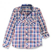 143950 Vintage teen boys blouse blue-red (10 pcs)