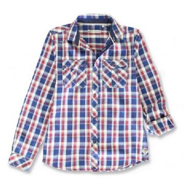 143950 Vintage teen boys blouse blue-red (10 pcs)