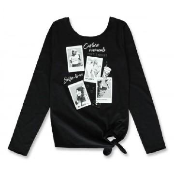 144145 Purpose full teen girls shirt black+tawny port (12 pcs)