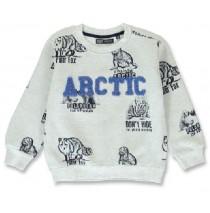 144203 Nature small boys sweatshirt grey melange+olive night (12 pcs)
