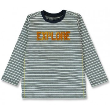 144218 Nature small boys shirt marshmallow+grey melange (12 pcs)