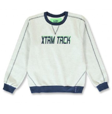 144226 City life teen boys sweatshirt grey melange+olive night (12 pcs)