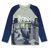 144243 City life teen boys shirt grey melange+olive night (12 pcs)