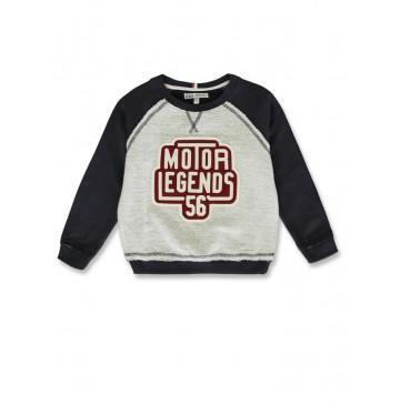 144304 Vintage small boys sweatshirt medieval blue+dark grey melange (12 pcs)