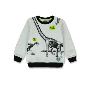 144343 Discovery world small boys shirt light grey melange+olive night (12 pcs)