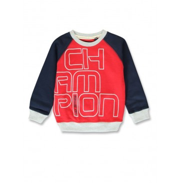 144476 Urban small boys sweatshirt ribbon red+royal blue (12 pcs)