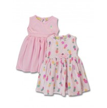 144815 Empower up baby girls twopack dress limelight+orchid pink (8 pcs)