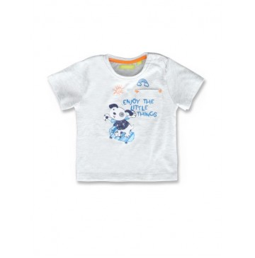 145090 Code create baby boys shirt light grey melange+blue bell (8 pcs)