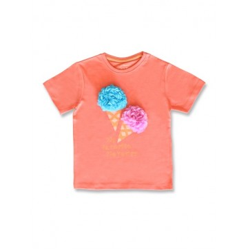 145510 Designing emotion small girls shirt living coral+bachelor button (12 pcs)