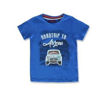 145628 Code create small boys shirt princess blue+grey melange  (12 pcs)