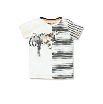 145762 Empower up small boys shirt light grey+burnt olive (12 pcs)