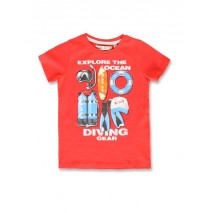145787 Designing emotion small boys shirt spiced coral+aspen gold (12 pcs)