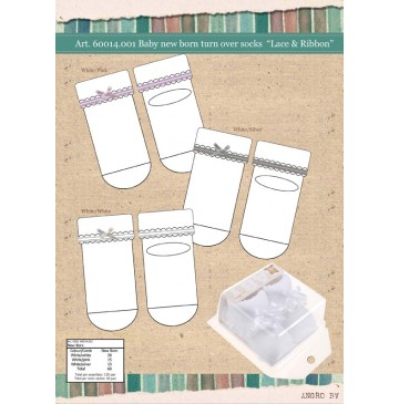 Baby Socks giftbox baby Lace and Ribbon opical white (6 pair)