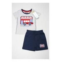 133641 Edgelands baby boys set shirt+short combo 3 grey melange (4 pcs)