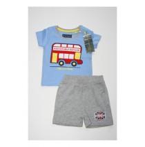 133641 Edgelands baby boys set shirt+short combo 2 vista blue (4 pcs)