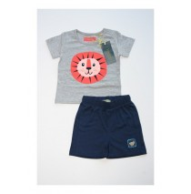 Baby boys set shirt+short combo 2 gray melange (4 pcs)