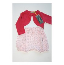 Baby girls set overall+cardigan combo 2 clarinet red (4 pcs)