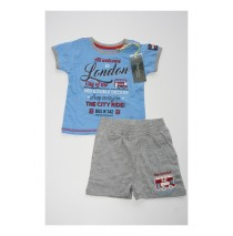 132976 Baby boys set shirt+short combo 2 vista blue (4 pcs)