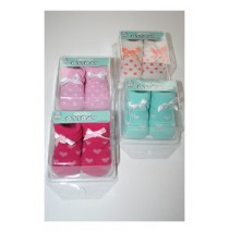 Baby Socks giftbox heart-dots with bow assorti color (8 pair)