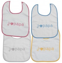 I Love papa bibs blue+pink+yellow+grey (4 pcs)