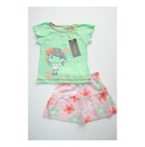 Eden baby girls set shirt + skirt green ash (4 pcs)