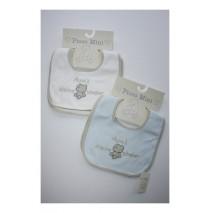 Papa's kleine sloeber 2 sets slabbetjes white + blue (4 pcs)